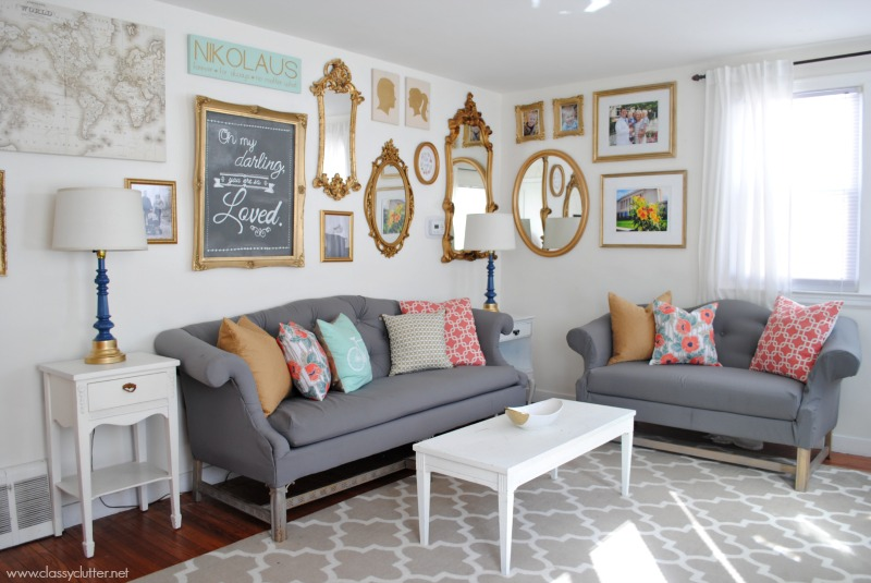 mint living room coral and mint living room reveal clutter 10822