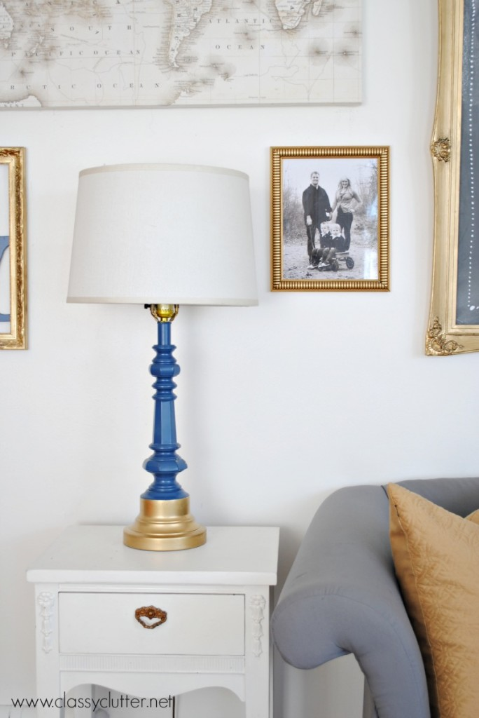 Navy and Gold Lamp
