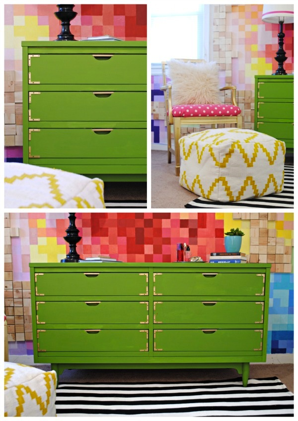 Kelly Green Campaign Dresser and Gold Chair