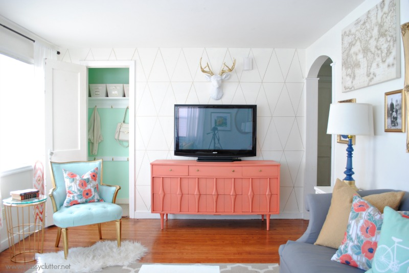 Coral and Mint Living Room Makeover