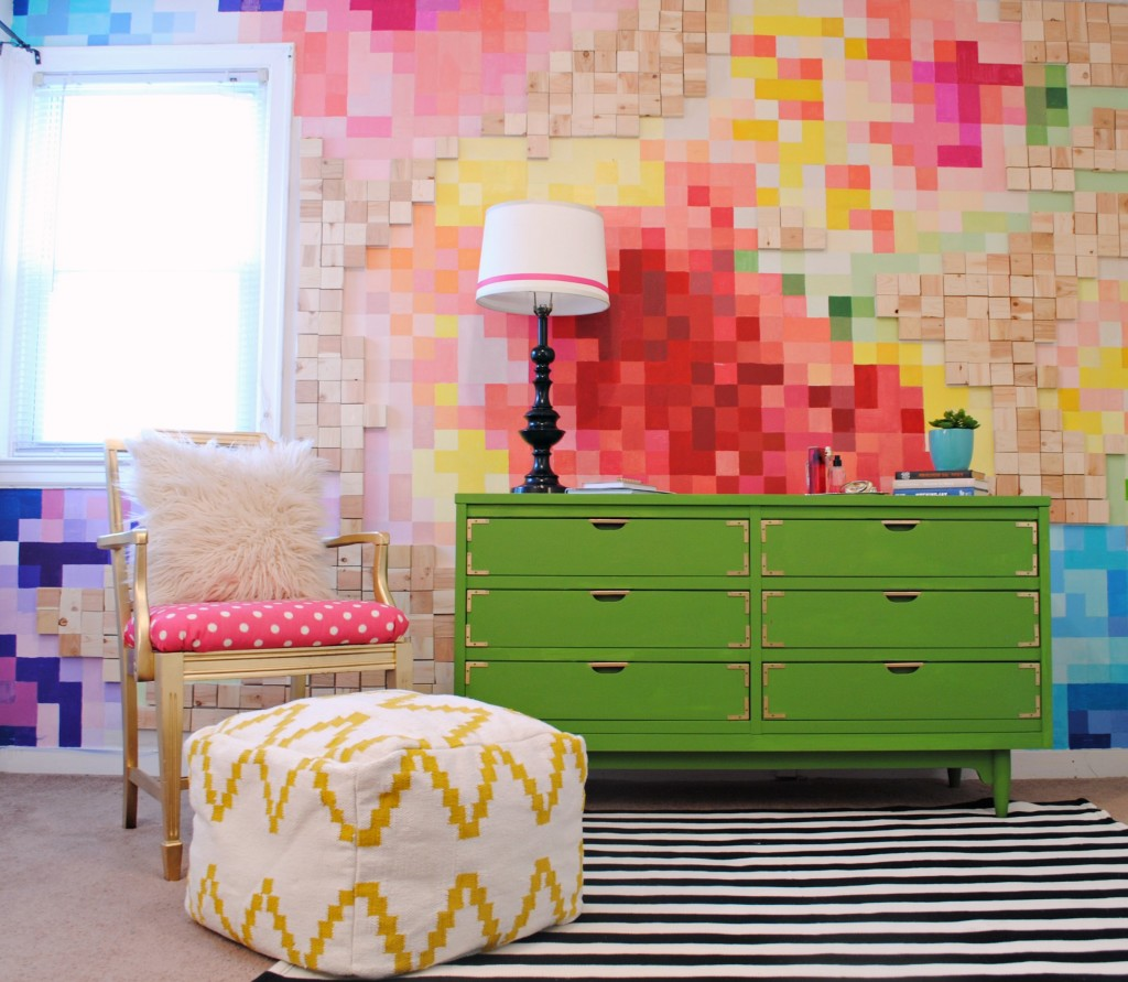 Pixelated Floral Wall and Kelly Green Campaign Dresser