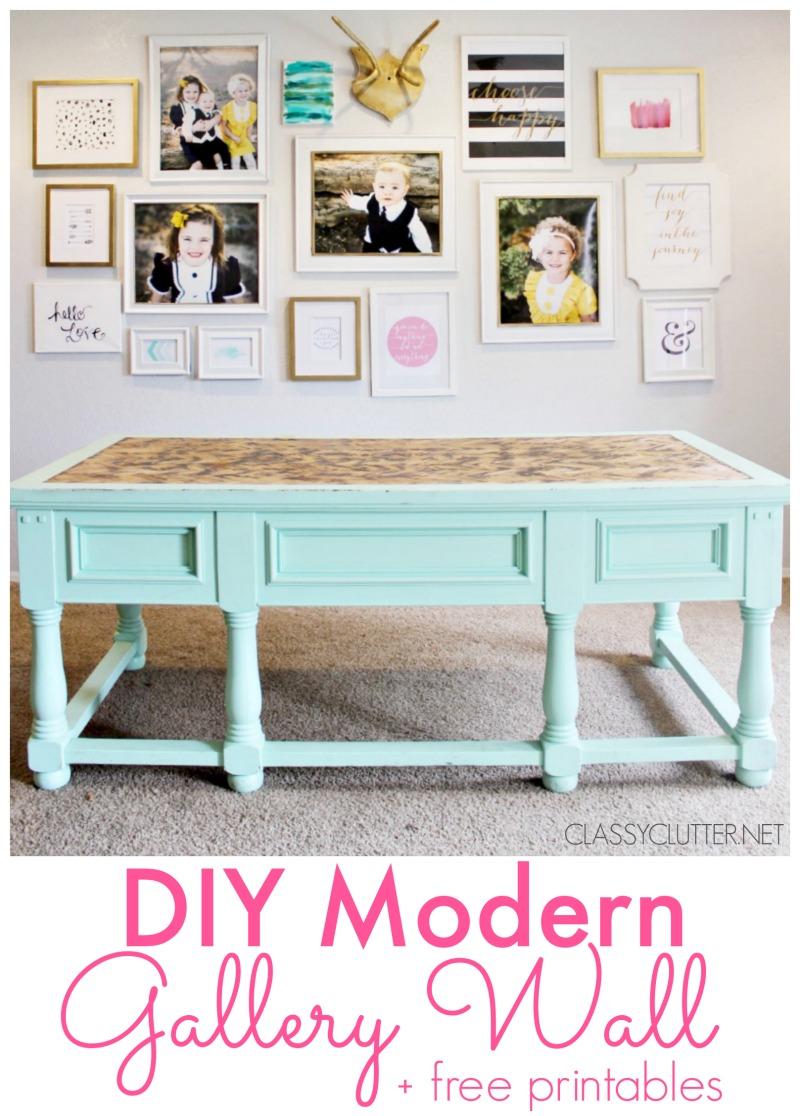DIY Modern Gallery Wall + Free Printables | www.classyclutter.net