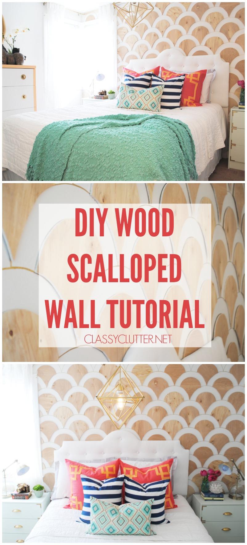DIY Wood Scalloped Wall Tutorial - classyclutter.net