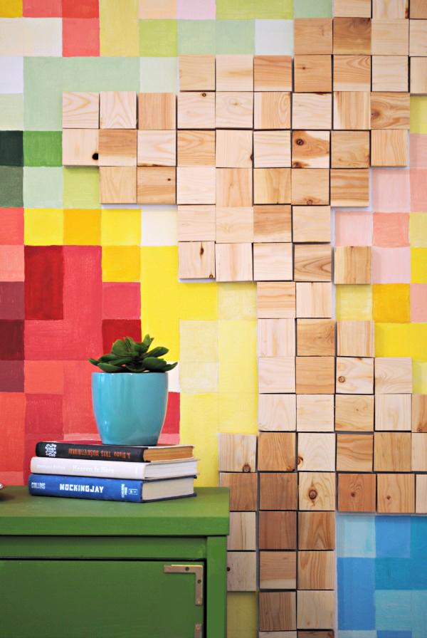 Wood blocks on Pixelated Wall | www.classyclutter.net