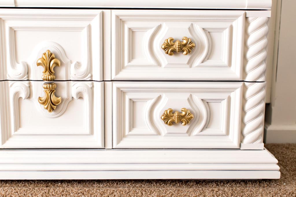 White and Gold Dresser- Master Bedroom PART 1