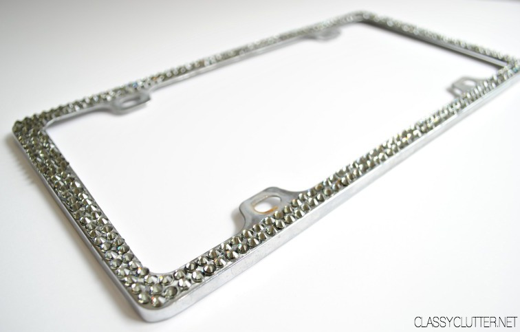 DIY Rhinestone License Plate Frame - Great gift idea! - www.classyclutter.net