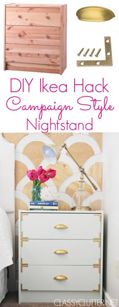 DIY Campaign Style Nightstands - Ikea Rast Hack