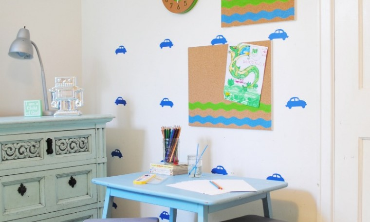 DIY Painted Cork board and Kid's Art Station