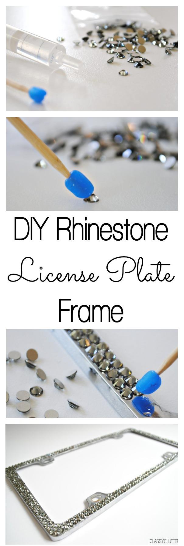 DIY Rhinestone License Plate Frame