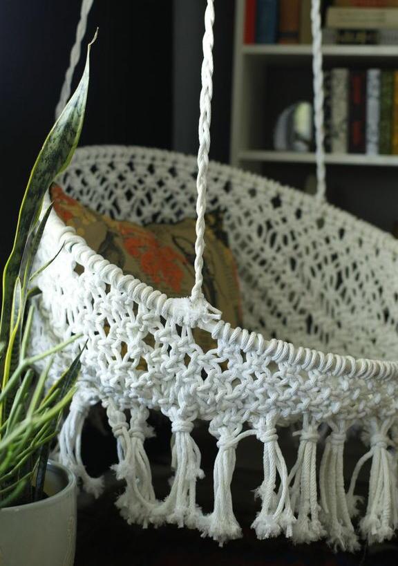 DIY Macramé Hanging Chair - www.classyclutter.net