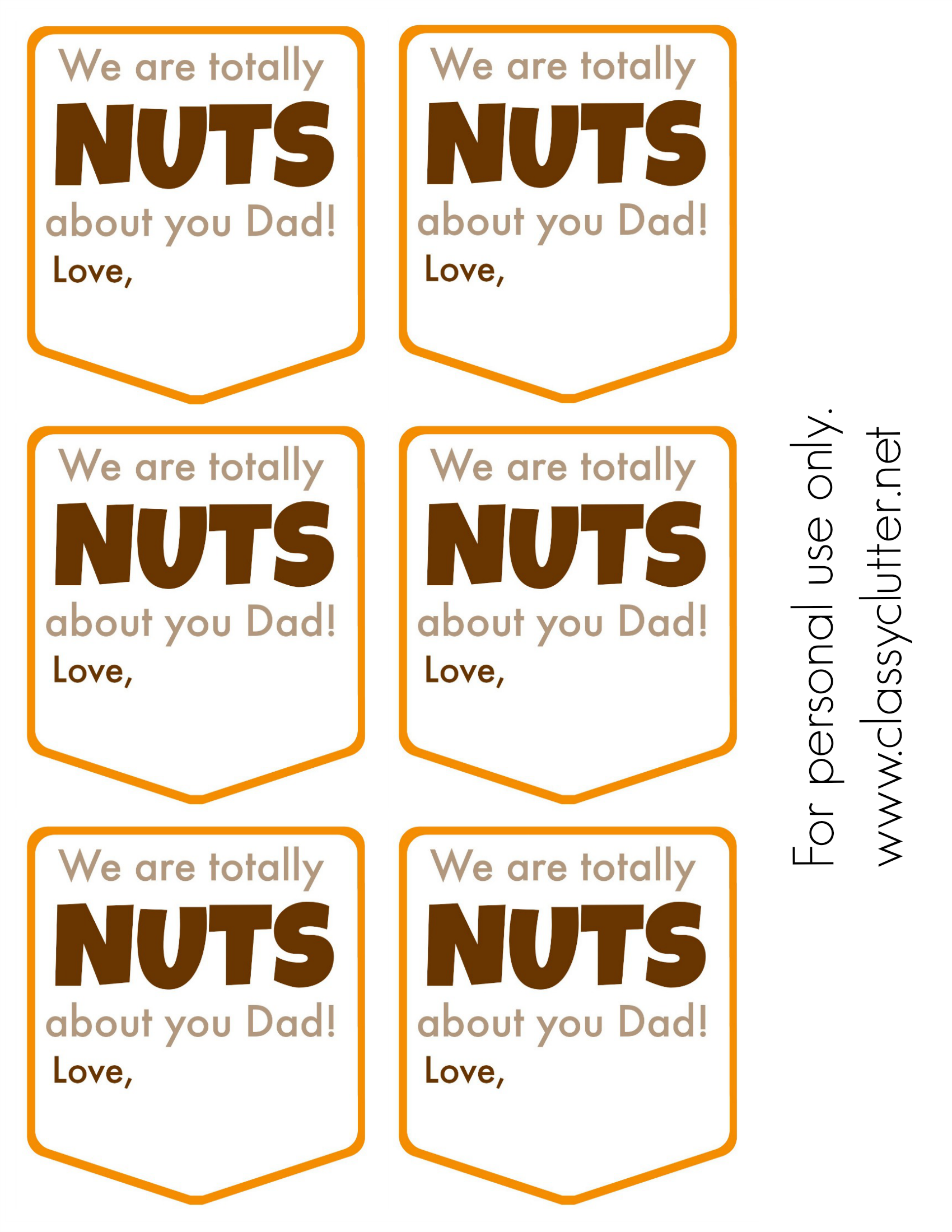 Nuts about you Dad Printable