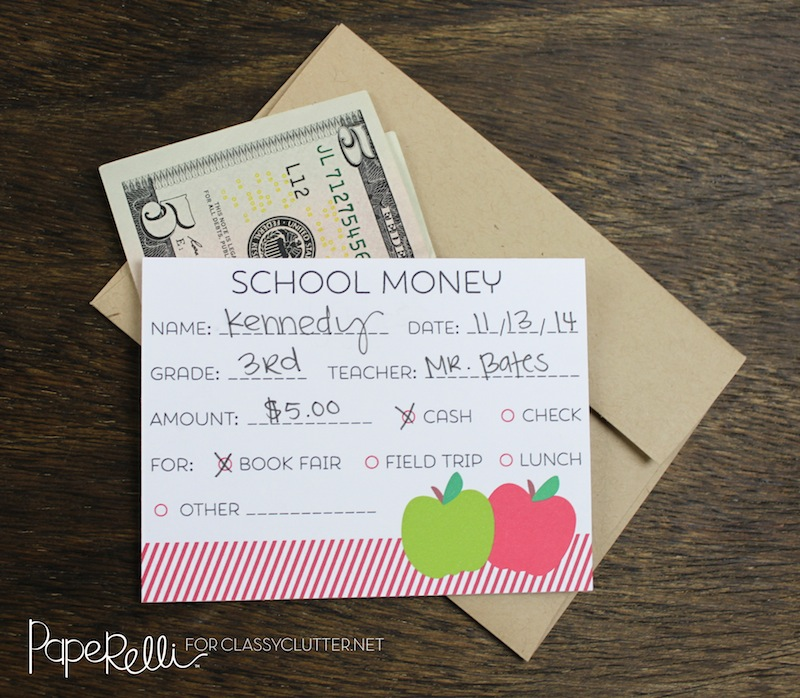 Back to School Printable - School Money Tags