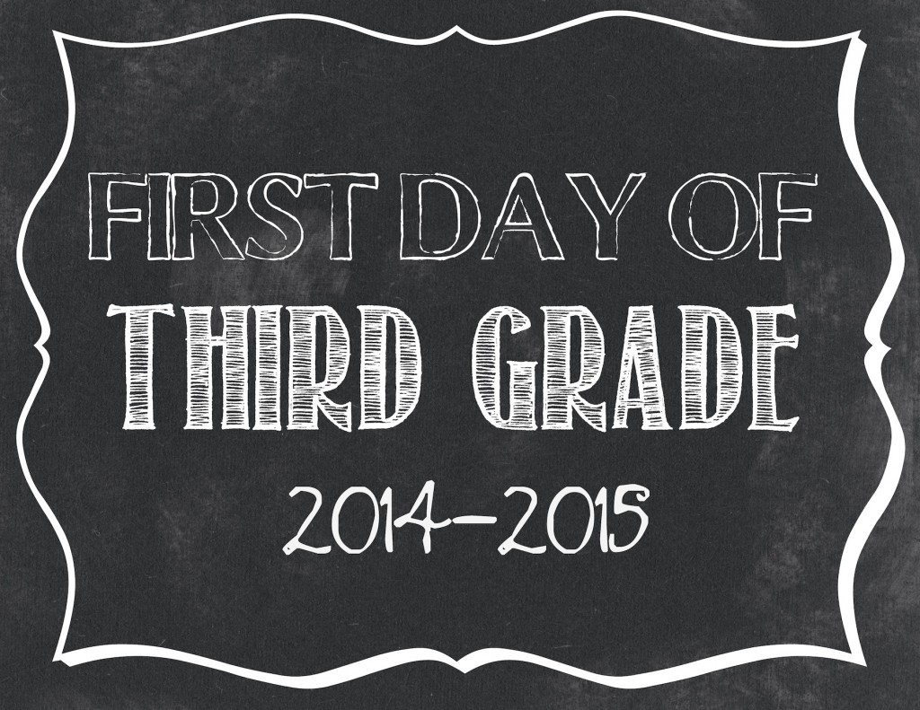 First day of 3rd grade printable