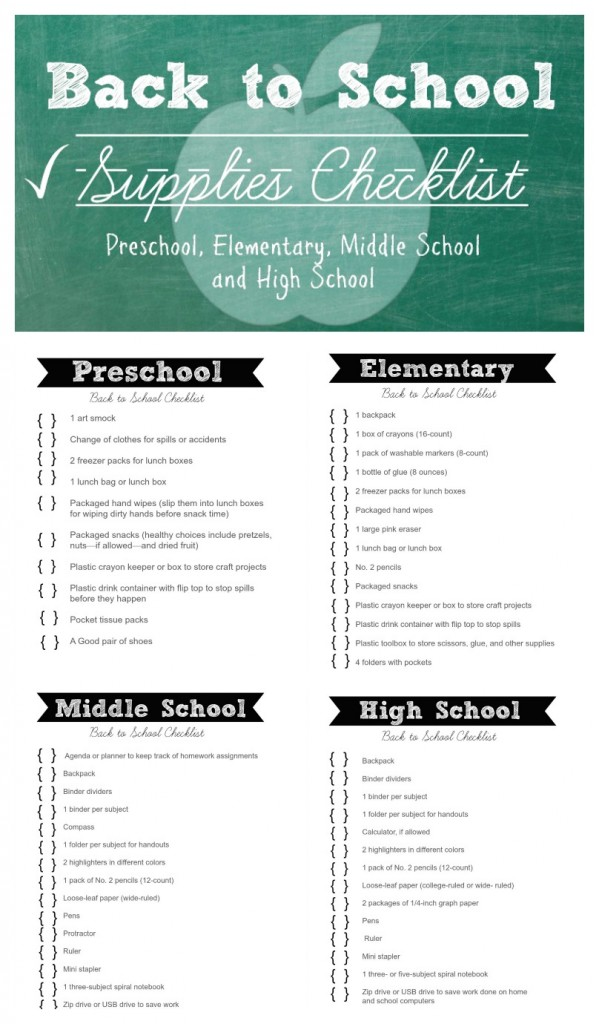 Main Back to School Checklist