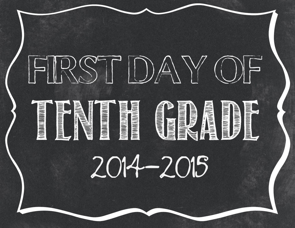 First day of 10th grade printable