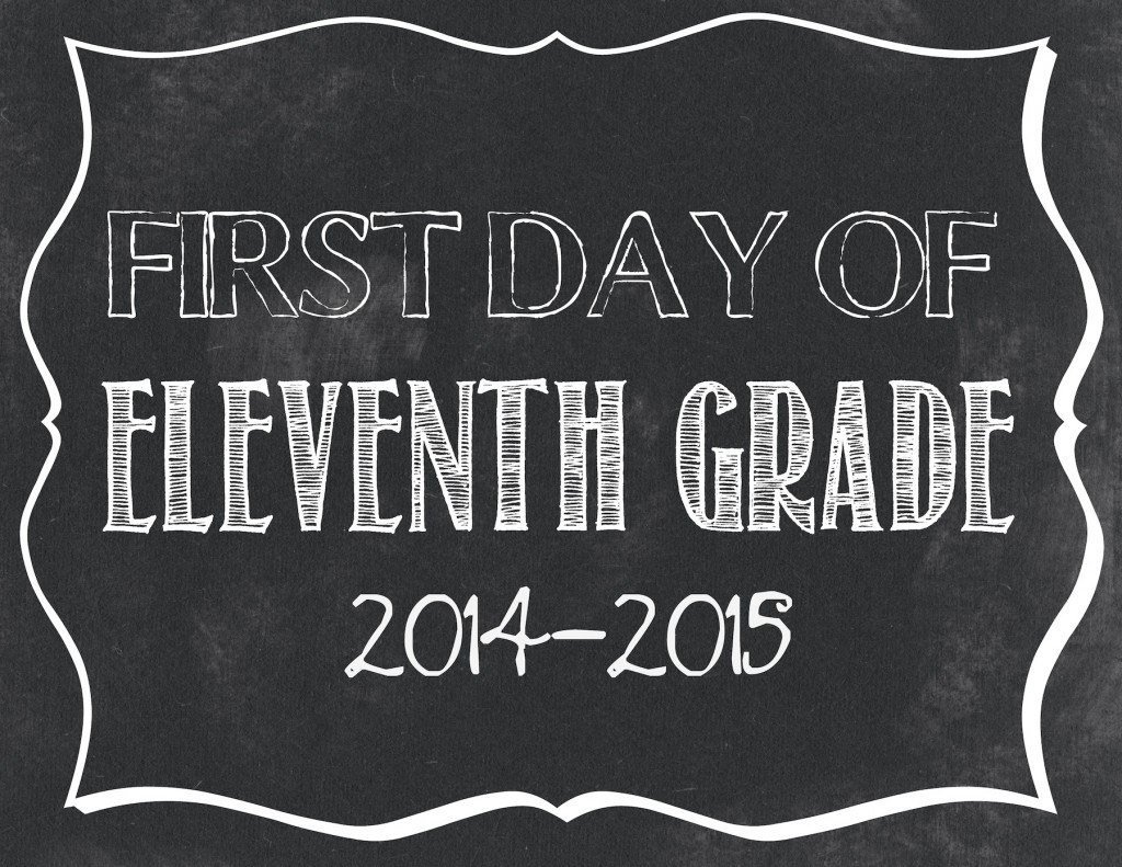 First day of 11th grade printable