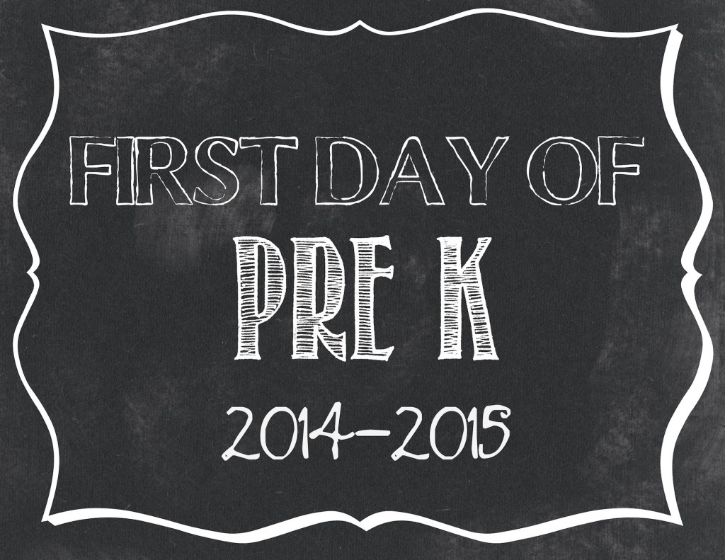 First day of Pre-K printable