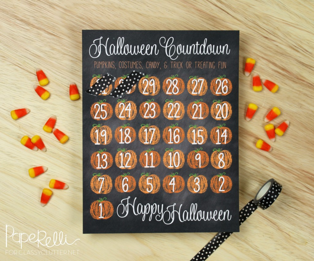 Chalkboard Halloween Countdown Printable