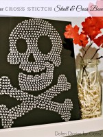 Faux Cross-stitch Skull and crossbones art