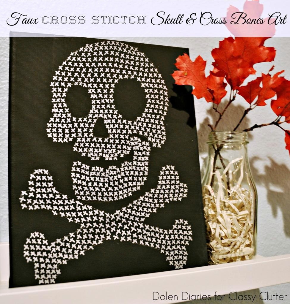 Faux Cross-stitch Skull and crossbones art