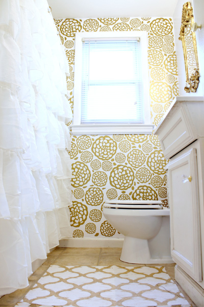 White And Gold Bathroom Ideas. Glam Bathroom Makeover 11 Gold