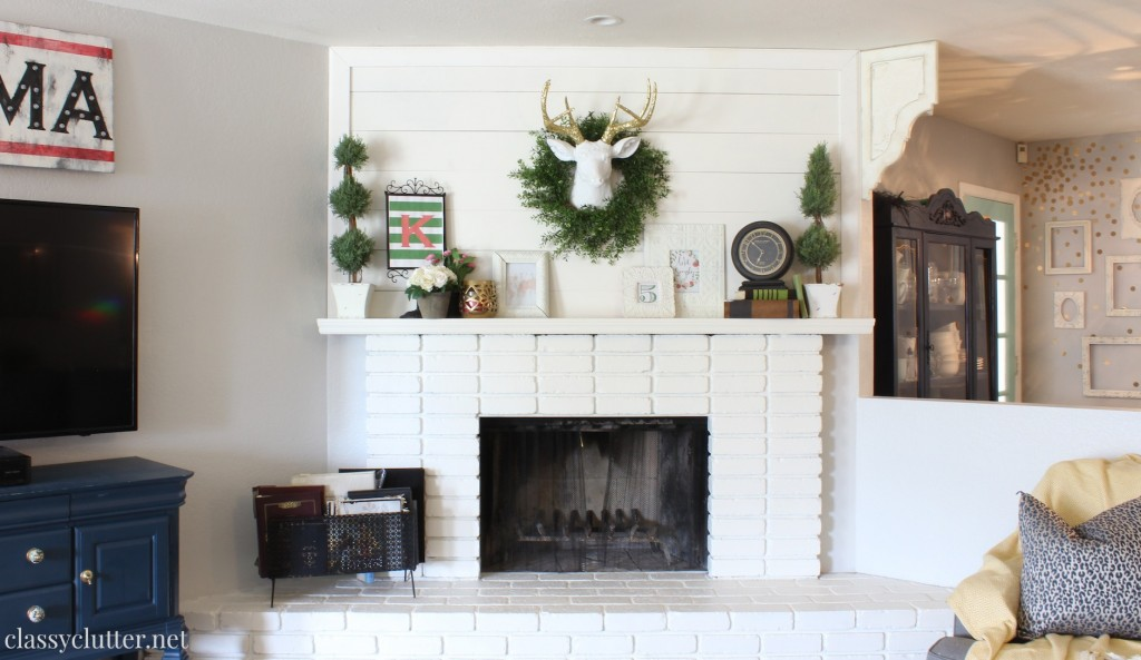 DIY Planked Mantle and White brick fireplace - Classy Clutter