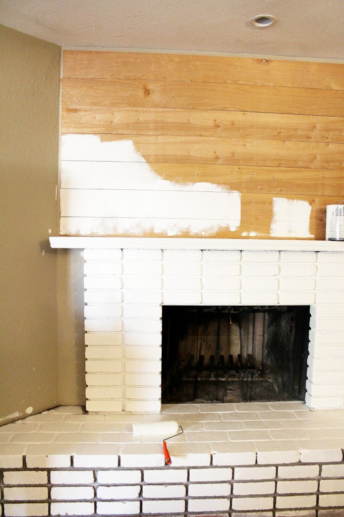 Diy Planked Mantle And White Brick Fireplace Cly Clutter