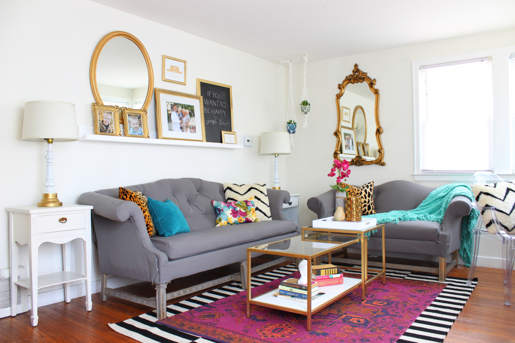 Living Room Makeover with jewel tones, black & white and gold accents - www.