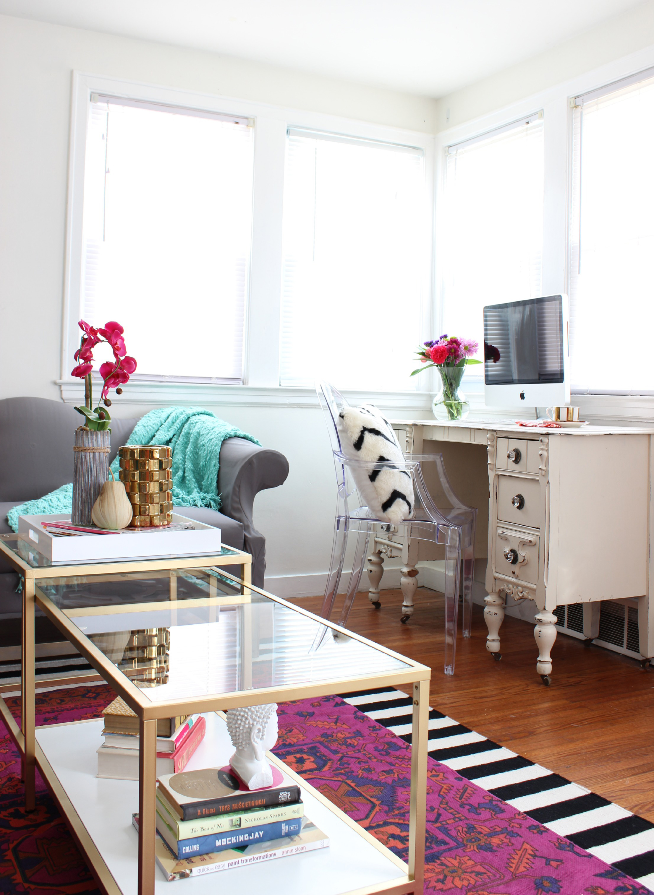 Living Room Makeover With Jewel Tones Black White And Gold Accents