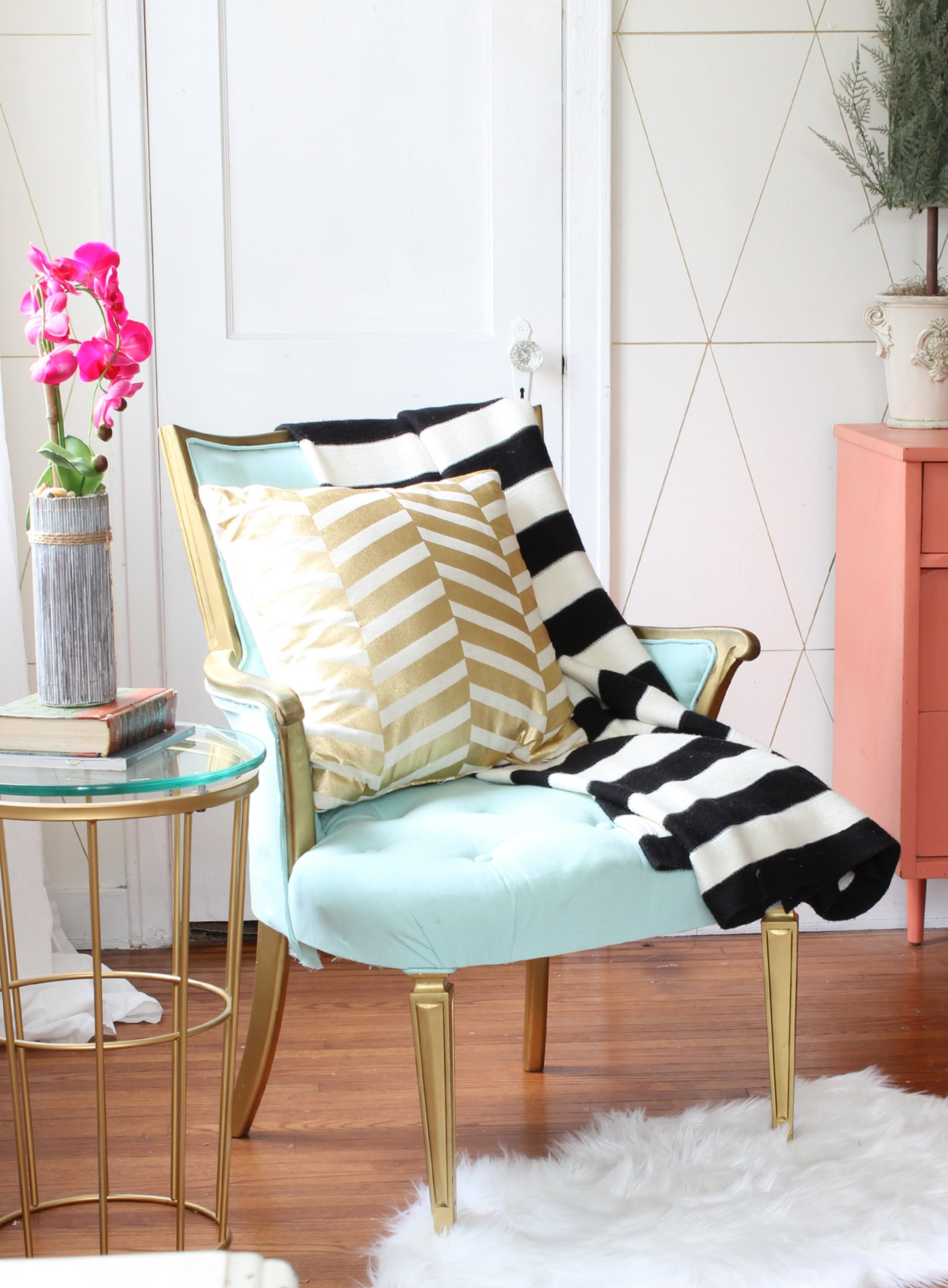 Living Room Makeover with jewel tones, black & white and gold accents