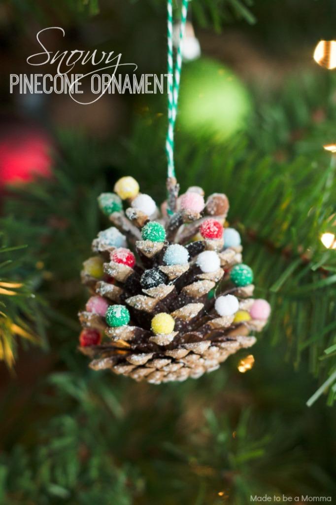 Snow Pinecone Ornament