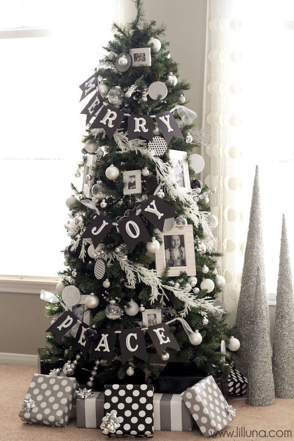 white and black christmas tree decorations photo9
