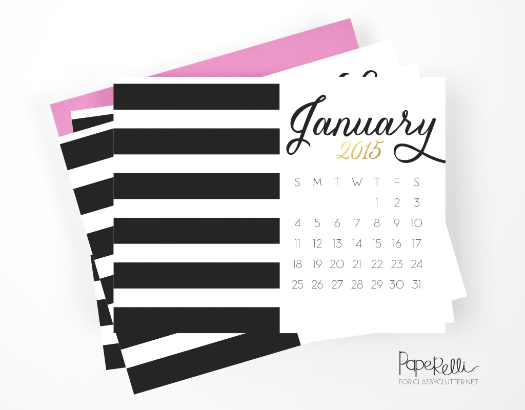 Black and Gold Calendars by Paperelli