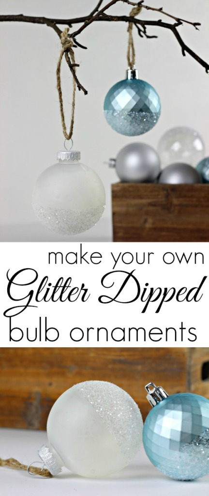 DIY Glitter Dipped Bulb Ornaments