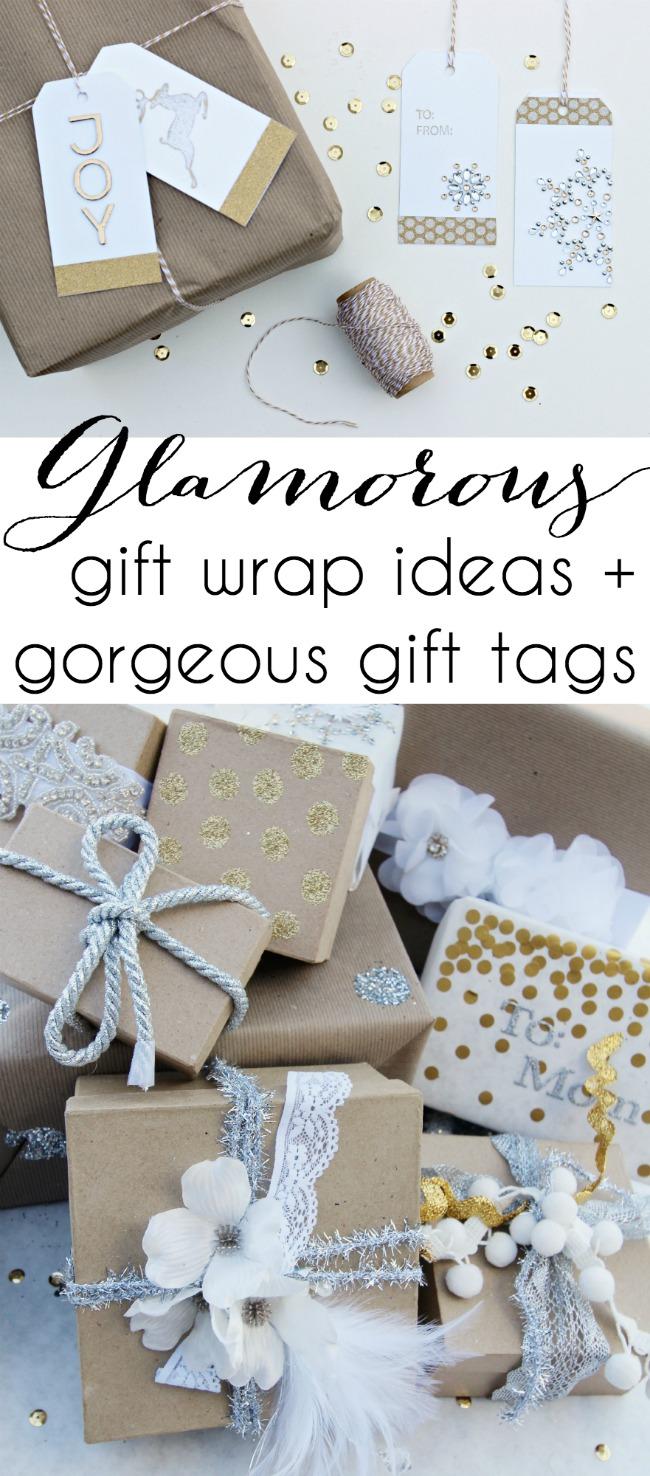 Glamorous Gift Wrap ideas + tags