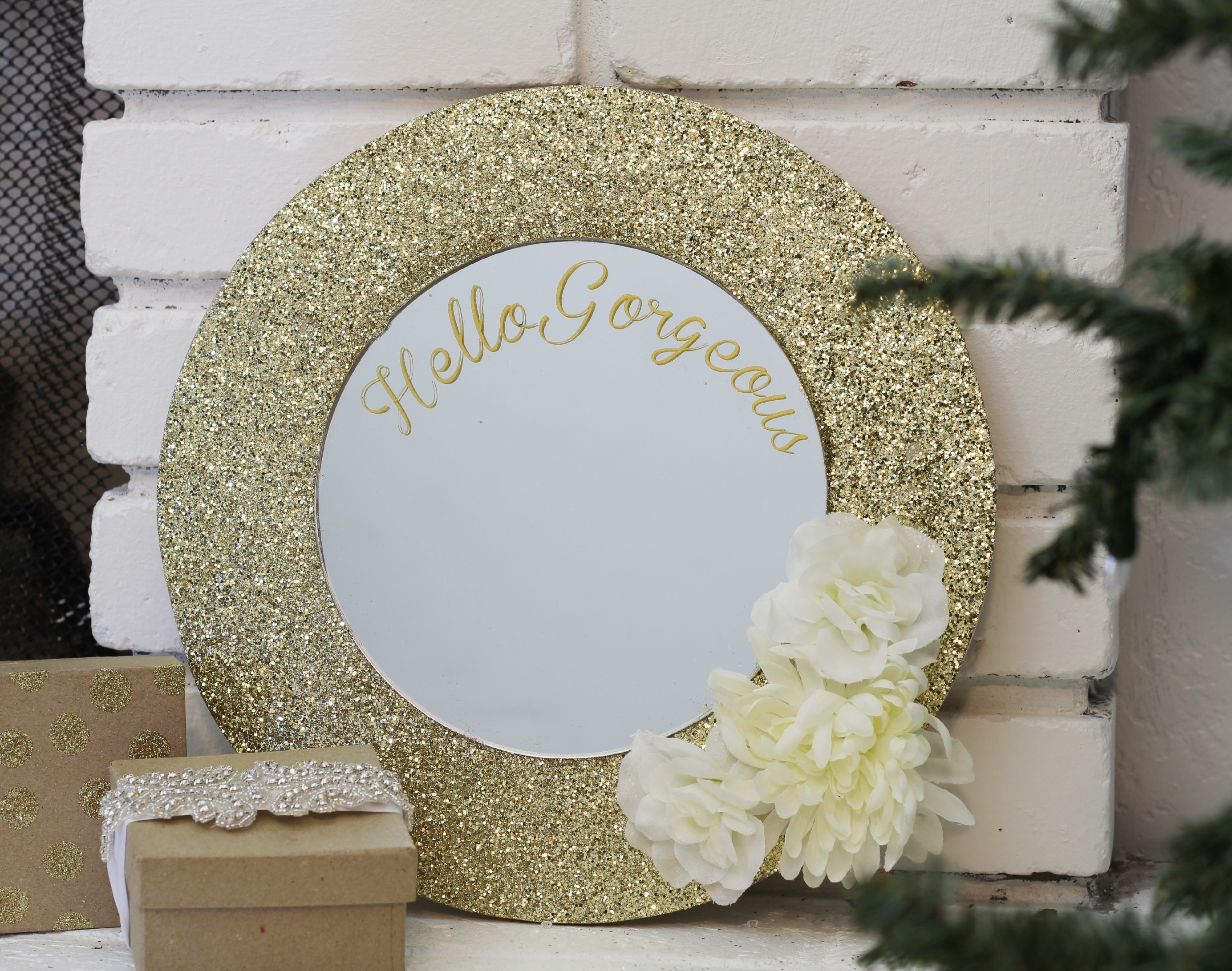 Glittered Mirror Gift