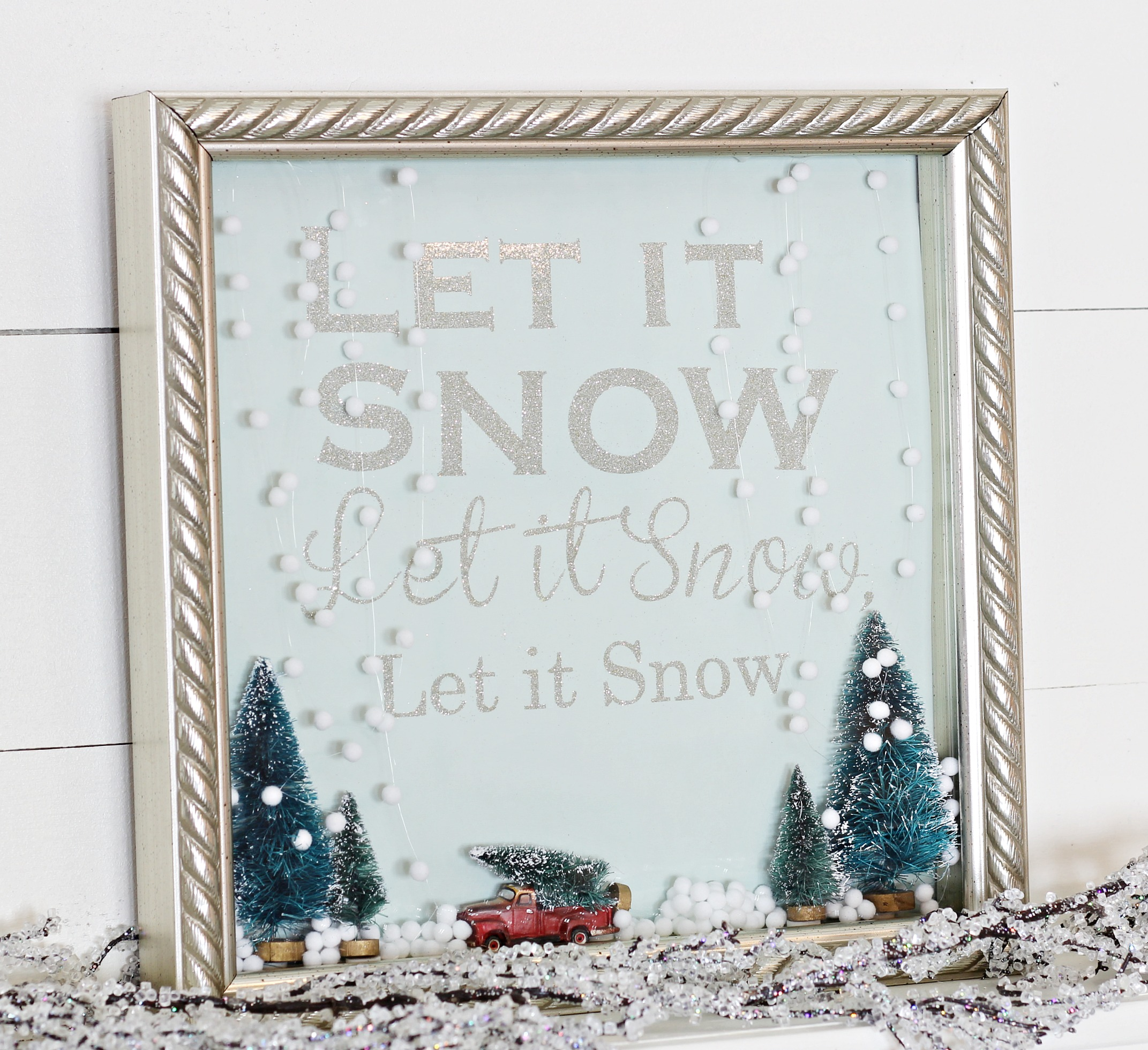 Let it Snow Shadow Box Snow Globe 1