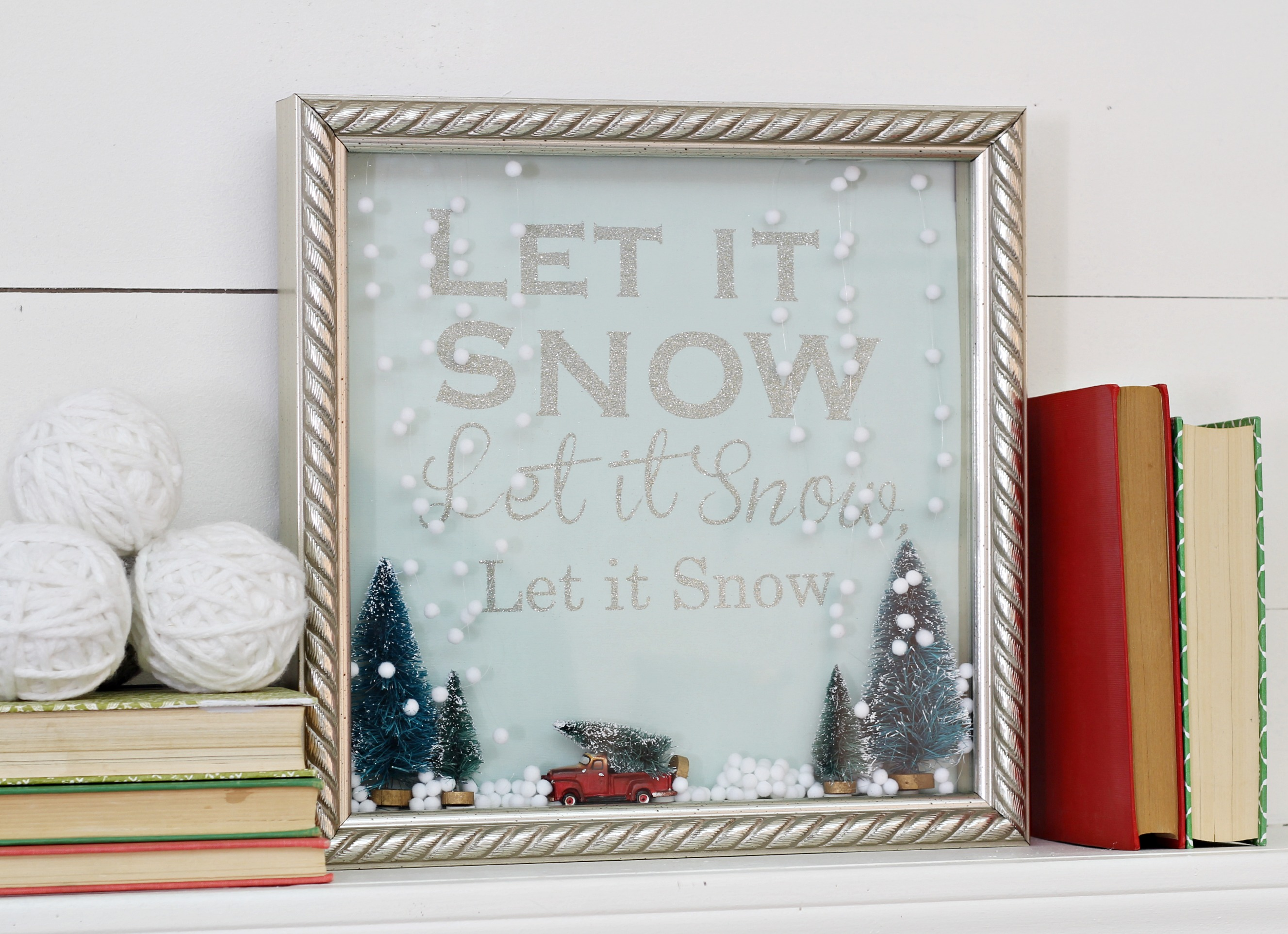 Let it Snow Shadow Box Snow Globe 2