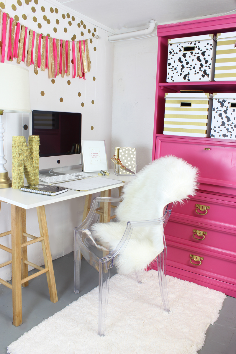 Pink and Gold Gorgeous Office Nook Classy Clutter
