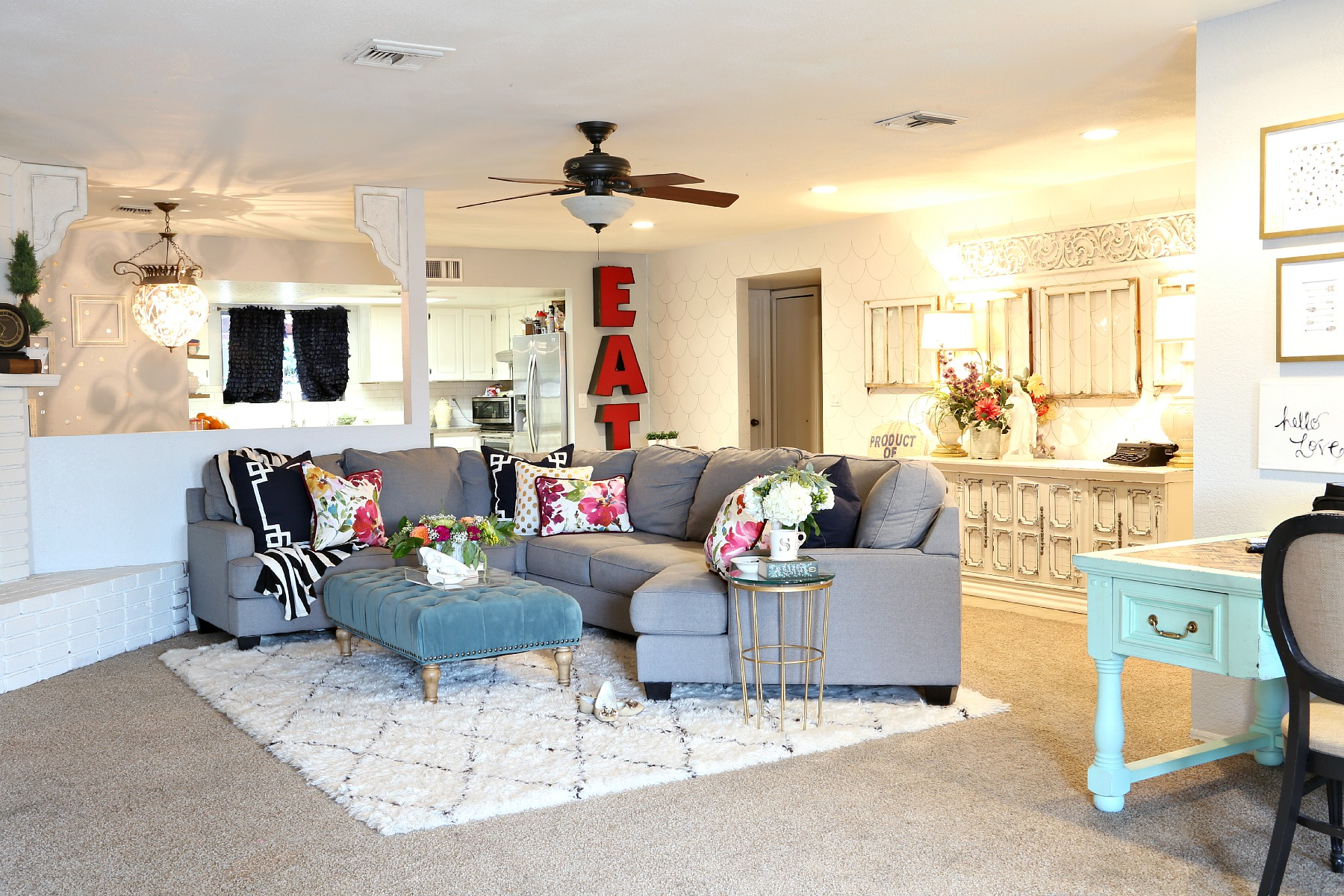 Colorful Living Room with Amazing Rug
