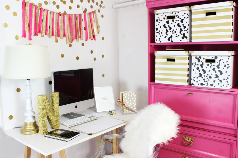 Pink and Gold Office Nook