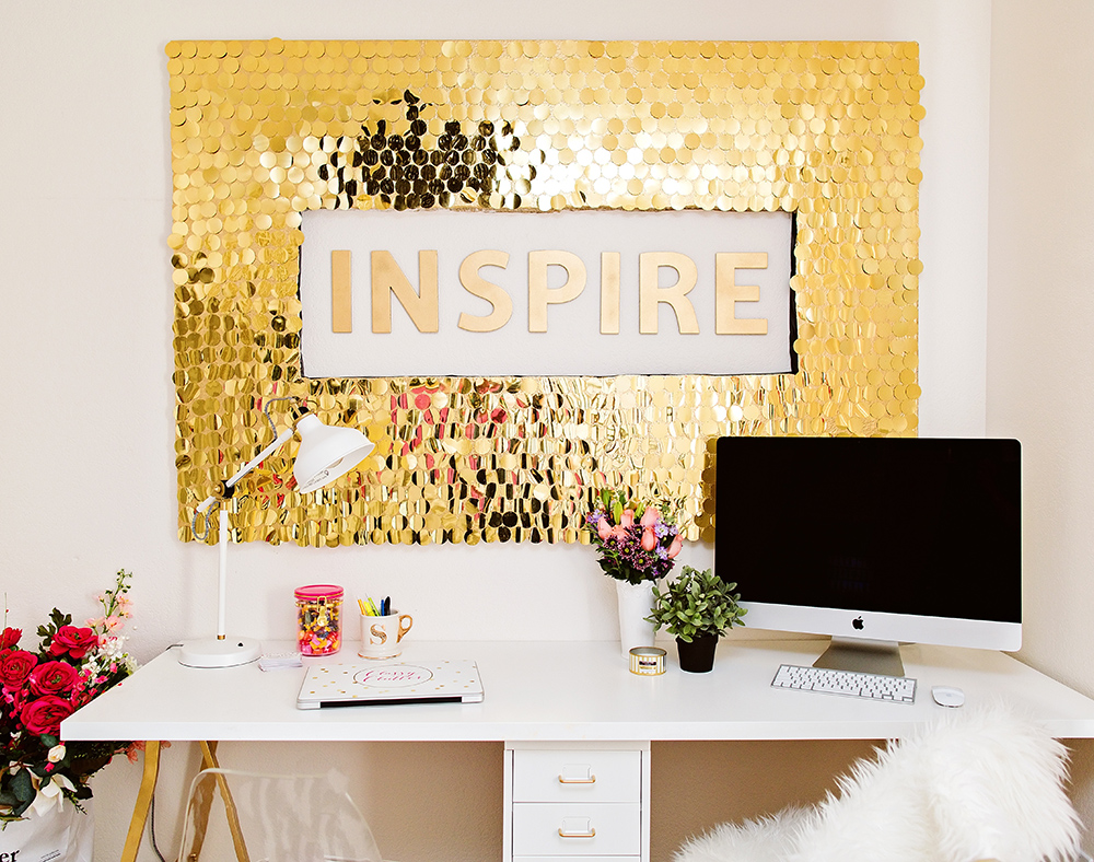 Diy office art Decoupage Classy Clutter Diy Sequins Wall Art