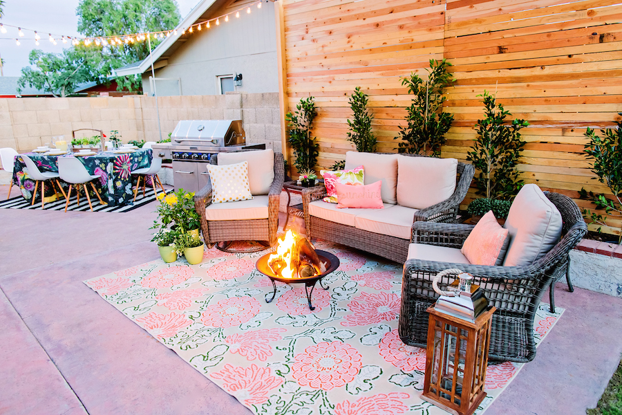 Outdoor Lounge Space with fire pit