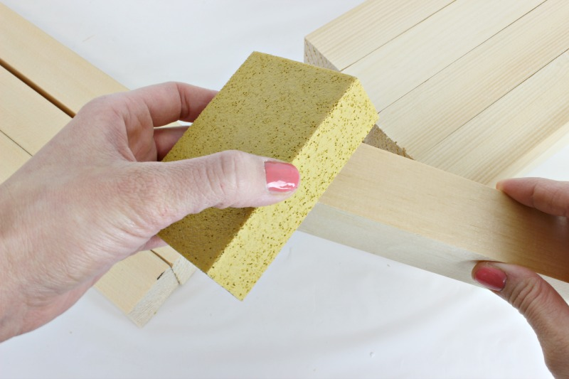 Sanding block for DIY Planter Box
