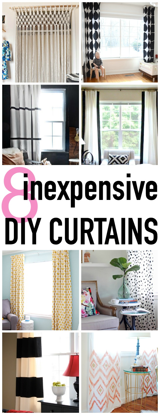 8 Inexpensive DIY Curtains