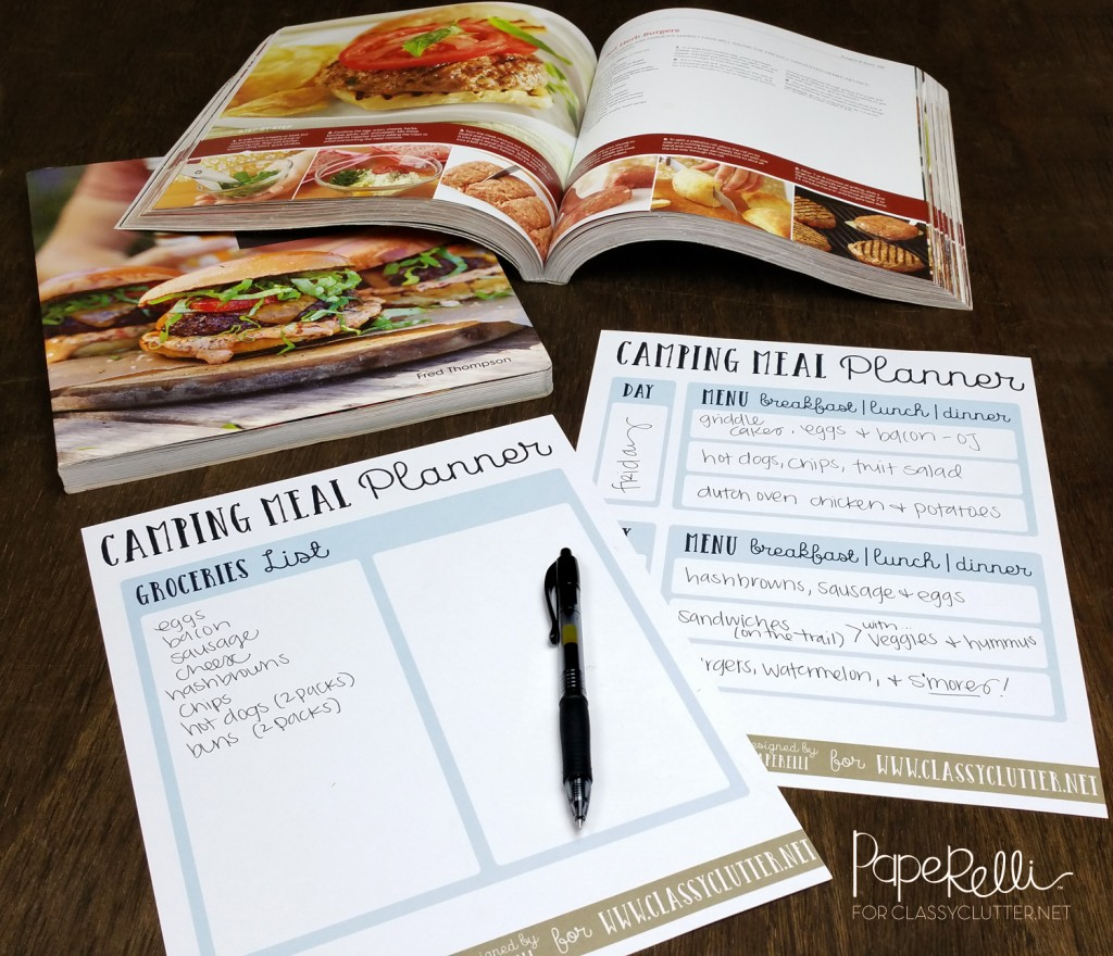 Camping Meal Planning Printables