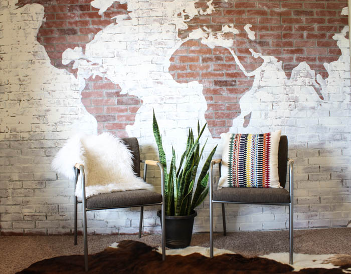 Faux brick wall world map for Diy brick projects