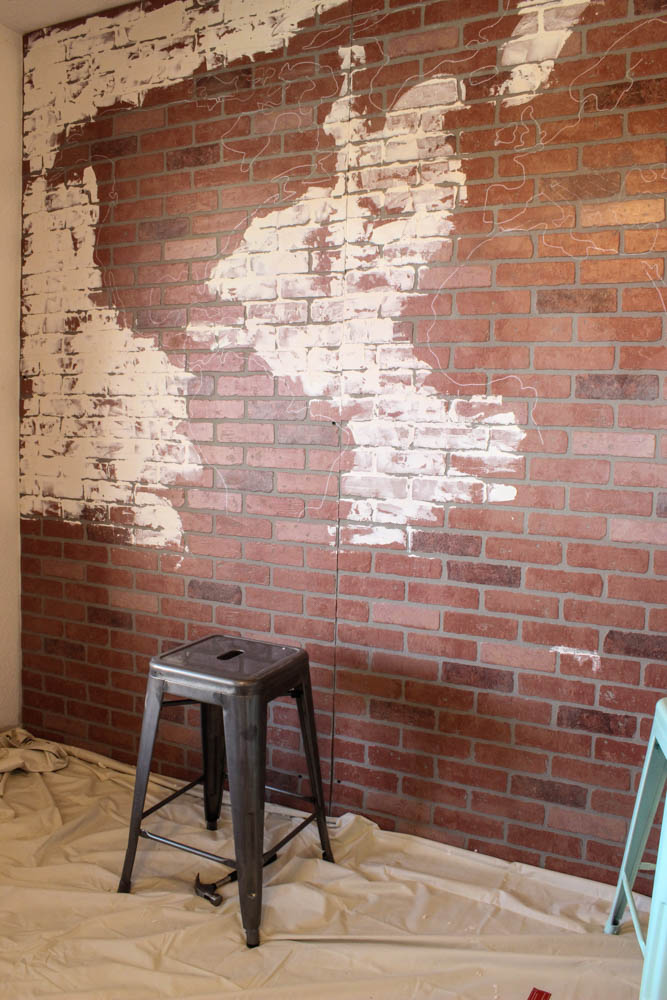 Brick Wall Paneling : Faux brick wall world map