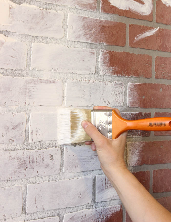 diy fake brick accent wall