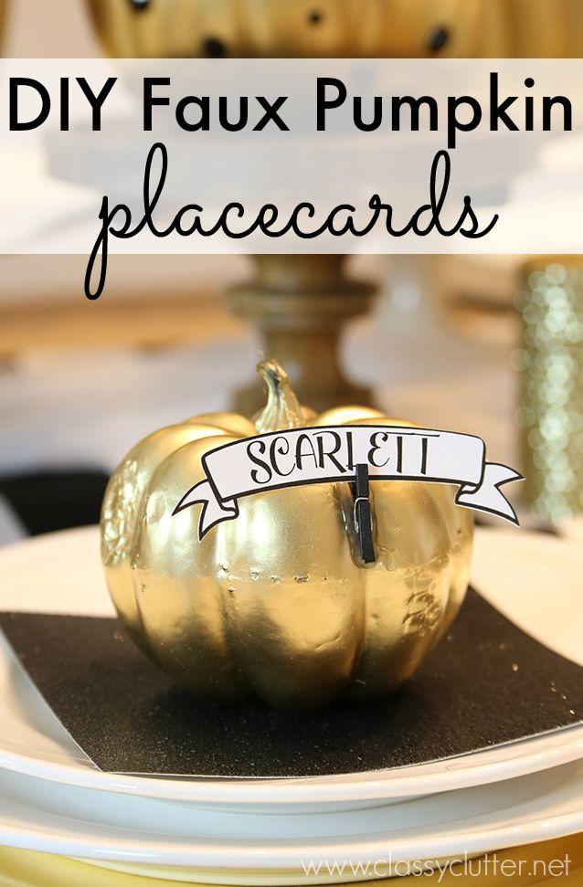 DIY Faux Pumpkin Placecards